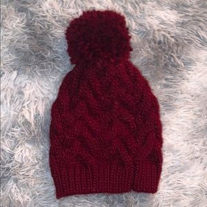 Burgundy Knit Puff Ball Beanie